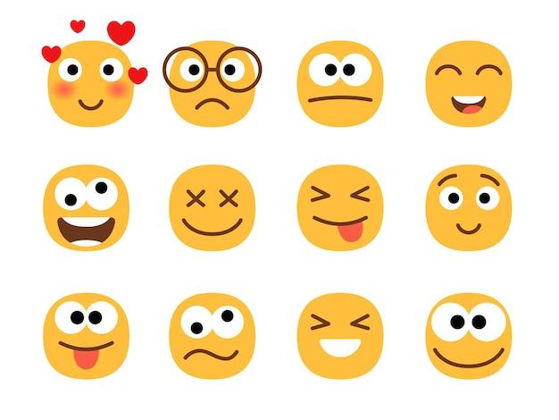 Visages d'émoticônes de sourire amusant.