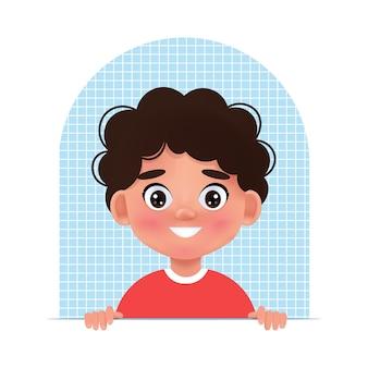 Visages enfant avatar. portrait de jeune garçon. illustration vectorielle dans le style 3d de dessin animé