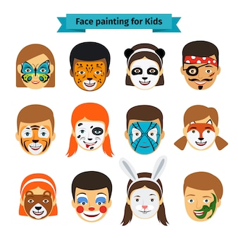 Visages d'enfants avec peinture