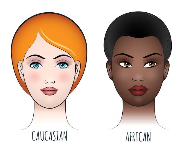 Visages féminins africains et caucasiens