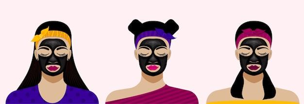 Visages féminins et masque de feuille facial noir. illustration de soins de la peau du visage.
