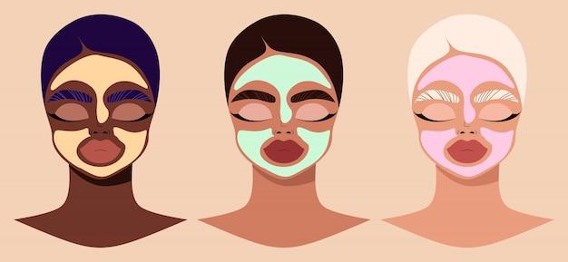 Visages féminins et masques cosmétiques de beauté. femmes portant des masques cosmétiques. illustration moderne dessinée à la main de personnages féminins appliquant des masques d'argile faciaux. concept de produit de beauté et de soins de la peau.