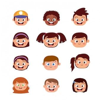 Visages heureux enfants souriants