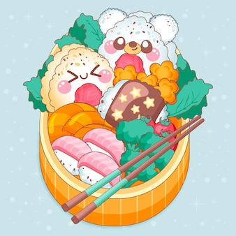 Visages kawaii sur boîte à lunch japonaise bento