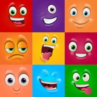 Visages masques avec bouche et yeux d'émoticône extraterrestres
