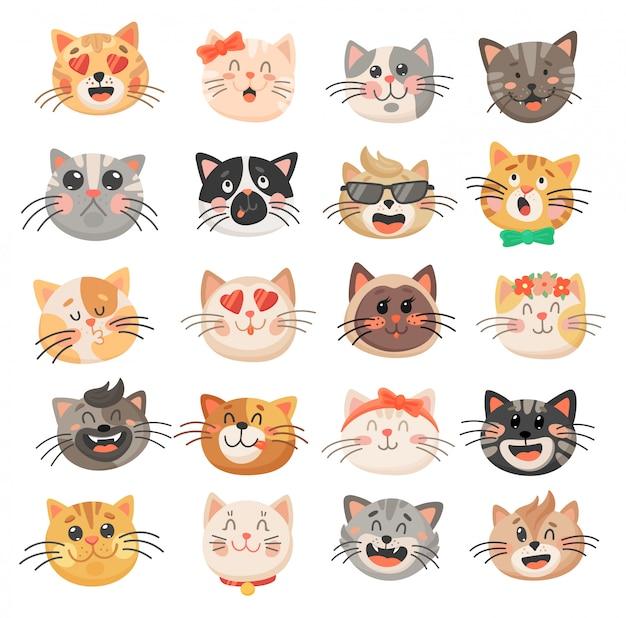 Visages mignons de chat, émoticônes d'animaux chaton ou minou