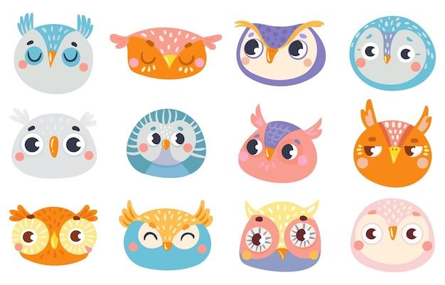Visages mignons de hibou. ensemble d'amusement de hibou de visage, illustration enfantine de dessin, regard gai et vecteur d'émotion d'oiseaux animaux
