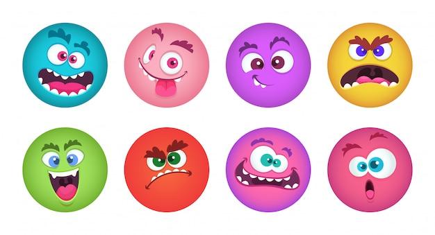 Visages de monstres. ensemble d'avatars de monstre de dessin animé