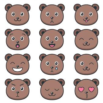 Visages d'ours en peluche mignons avec différentes émotions