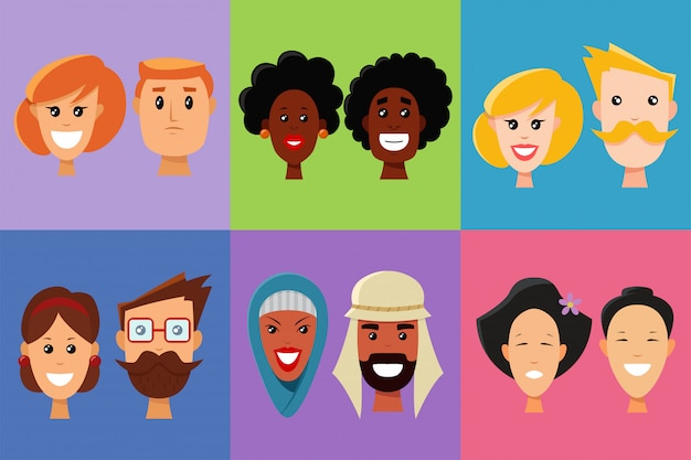 Visages de personnes de différentes nationalités et émotions.