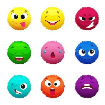 Visages poilus drôles de monstres. boules gonflées de couleurs différentes