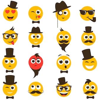 Visages souriants dans un style rétro