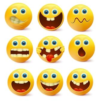 Visages souriants jaunes. modèle de caractères emoji