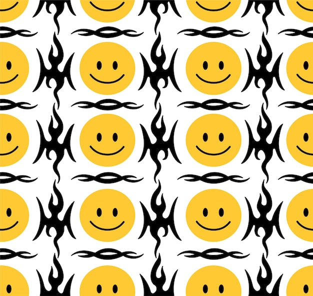 Visages de sourire drôle et modèle sans couture tribal abstrait. illustration de personnage de dessin animé doodle dessinés à la main de vecteur. le sourire fait fondre les visages, le tatouage tribal, le concept d'impression de papier peint à motif harmonieux trippy