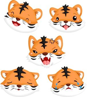 Visages de tigre émotionnels