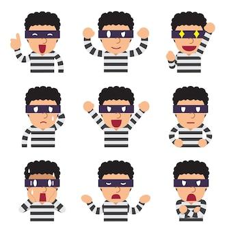 Visages de voleur de dessin animé montrant différentes émotions