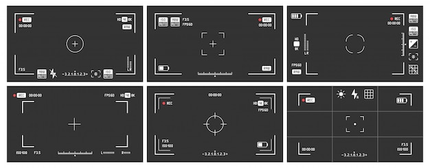 Viseurs de caméra vidéo. cadre de vue d'enregistrement, écran de visualisation de cinéma et jeu de vecteurs de viseur de caméra dslr