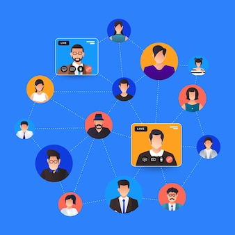 Visioconférence de concept design plat illustrations. formulaire de travail de réunion en ligne à domicile. appel et vidéo en direct.