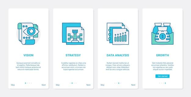 Vision de chef d'entreprise, stratégie de croissance des bénéfices ux, ensemble d'écran de page d'application mobile ui