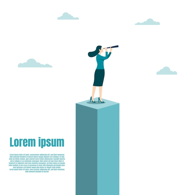 Vision et cible de l'entreprise, femme d'affaires tenant un télescope debout au-dessus de la boîte. succès dans la carrière. concept entreprise, réalisation, caractère, chef de file, illustration vectorielle à plat