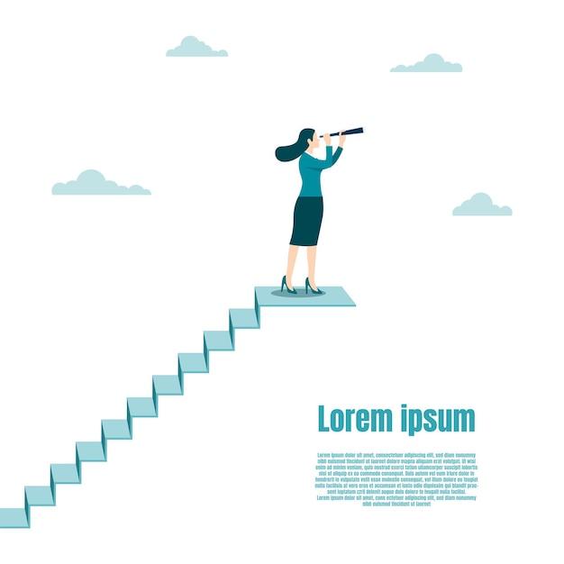 Vision et cible de l'entreprise, femme d'affaires tenant un télescope debout au sommet de l'escalier. succès dans la carrière. concept entreprise, réalisation, caractère, chef de file, illustration vectorielle à plat