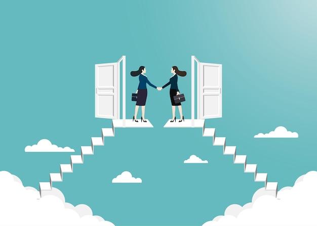 Vision et cible de l'entreprise, poignée de main d'une femme d'affaires à l'extérieur. ouvrez la porte vers le succès dans votre carrière. concept entreprise, réalisation, caractère, chef de file, illustration vectorielle à plat