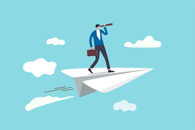 Vision d'entreprise pour voir l'opportunité ou la stratégie, découverte ou visionnaire pour regarder vers l'avenir dans le concept d'entreprise