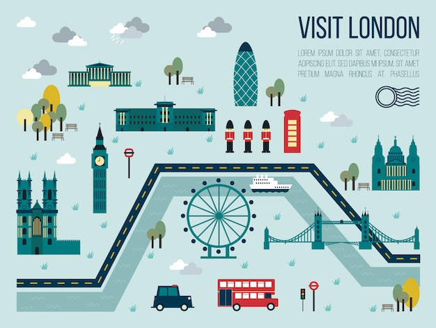 Visit london map illustration