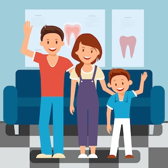 Visite chez le dentiste familial