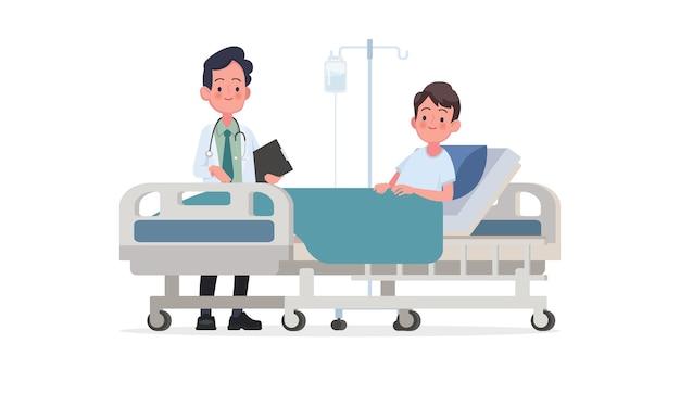 Visite du médecin au service du patient. une personne malade est dans un lit médicalisé sous perfusion. illustration dans un style plat