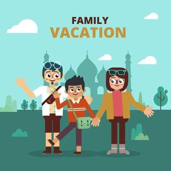 Visite de vacances en famille