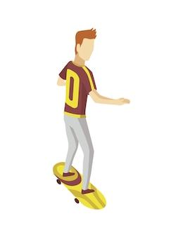 Visiteur du skatepark isométrique. jeune homme à cheval sur une planche à roulettes. loisirs modernes pour les jeunes