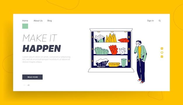 Visiteur sur l'exposition des minéraux ou modèle de page de destination de magasin