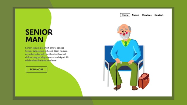 Visiteur homme senior assis sur un fauteuil vecteur. happy senior man with stick and case bag asseyez-vous sur un banc dans la salle d'attente d'une clinique ou d'un bureau. vieux personnage grand-père web illustration de dessin animé plat