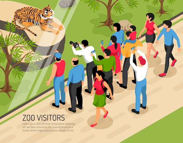 Les visiteurs du zoo adultes et enfants avec des appareils photo près de la zone avec le tigre isométrique