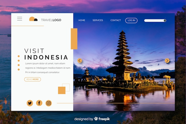 Visitez la page d'atterrissage de voyage en indonésie avec photo