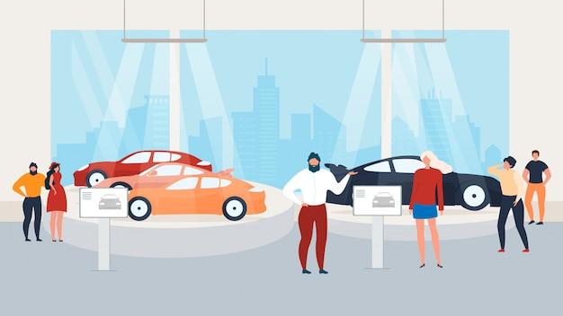 Visiting auto show, présentation en voiture