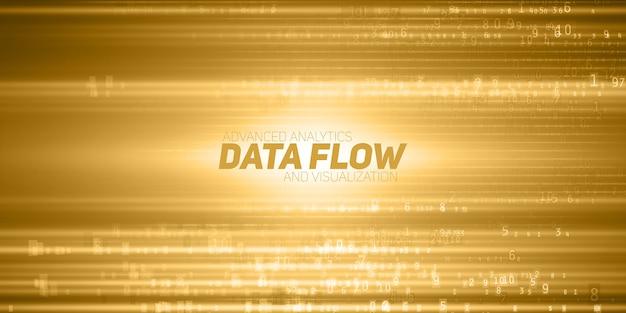 Visualisation abstraite de données volumineuses. flux jaune de données sous forme de chaînes de nombres. représentation du code d'information. analyse cryptographique.