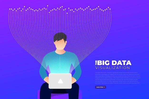 Visualisation de big data. analyse de la complexité des données visuelles. concept infographique. représentation graphique de la ligne d'information. graphique de données abstraites. illustration