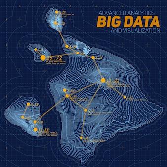 Visualisation des big data du terrain. infographie de la carte futuriste. visualisation graphique de données topographiques complexes. données abstraites sur le graphique d'élévation. image de données géographiques colorées.