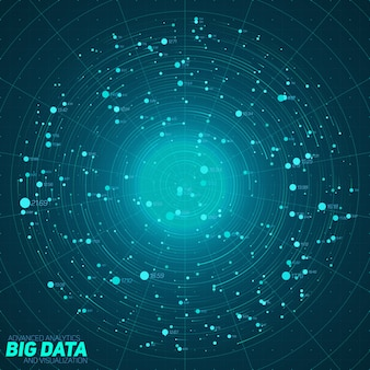 Visualisation bleue de big data. infographie futuriste