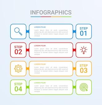 Visualisation de données commerciales, modèle infographique en 4 étapes sur fond bleu