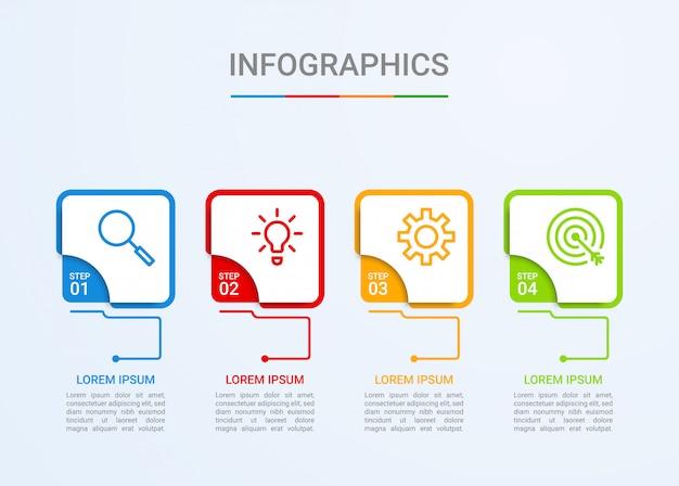 Visualisation des données commerciales, modèle infographique en 4 étapes