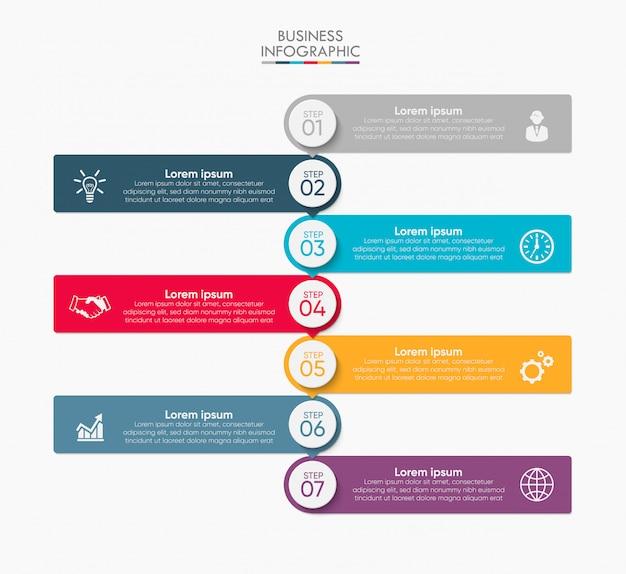 Visualisation des données d'entreprise. icônes infographiques de chronologie conçues pour le modèle abstrait