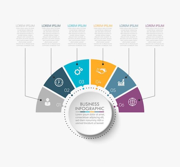 Visualisation des données d'entreprise. icônes infographiques de chronologie