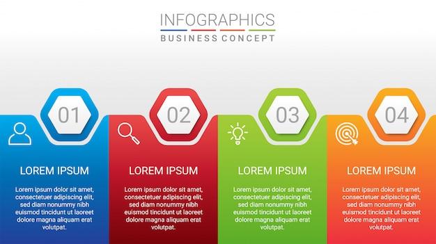 Visualisation des données d'entreprise, modèle infographique avec 4 étapes sur fond gris, illustration