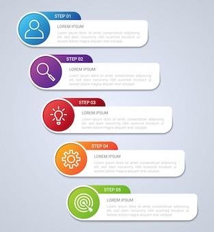 Visualisation des données d'entreprise, modèle infographique avec 5 étapes sur fond gris, illustration