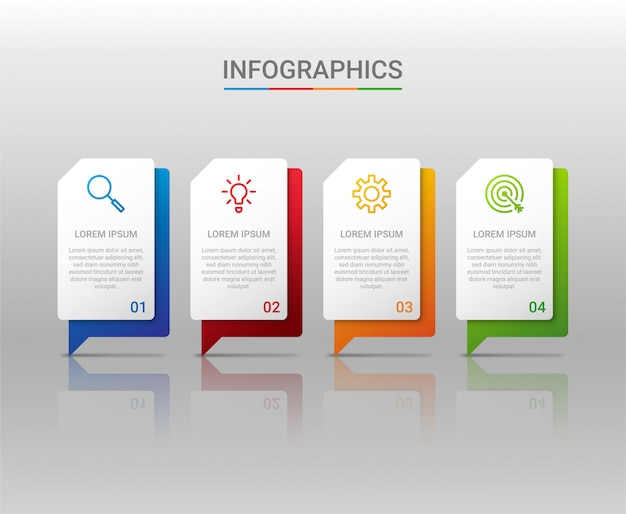 Visualisation des données d'entreprise, modèle infographique avec étapes sur fond gris, illustration