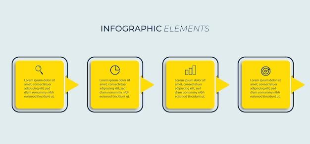 Visualisation de données de modèle graphique d'informations commerciales de présentation avec options.