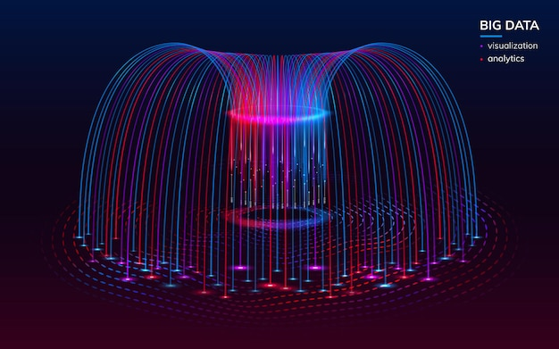 Visualisation fractale du big data numérique pour le fond infographique. éléments d'infochart bigdata ou fond d'écran technologique abstrait. analyse et analyse, toile de fond scientifique. planification, comportement des données